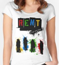 RENT Musical Paint Splash Women's Fitted Scoop T-Shirt