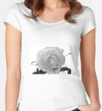 Rose black and white Women's Fitted Scoop T-Shirt