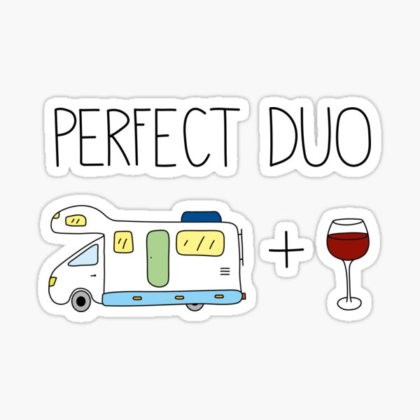 Camper and wine Sticker