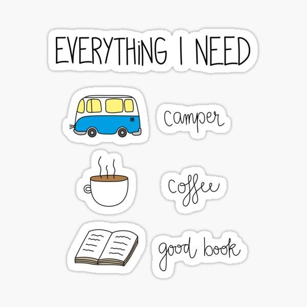 Camper, coffee and good book Sticker