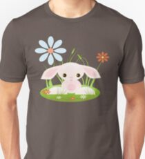 Little Pink Baby Bunny With Flowers Unisex T-Shirt