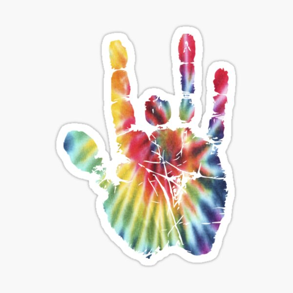 Tie Dye Jerry Garcia Hand  Sticker