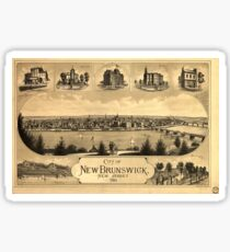 Vintage Pictorial Map of New Brunswick NJ (1880) Sticker