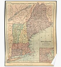 Vintage Map of New England (1880) Poster