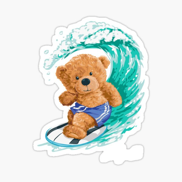 Cute Surfing Bear - Adograble Sticker