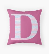 Letter D Blue And Pink Dots And Dashes Monogram Initial Throw Pillow