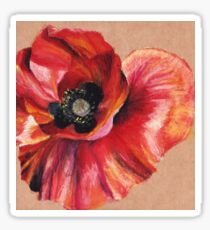Oil Pastel Red Poppy Sticker