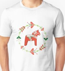 Dala Horse with Swedish Folk Art Wreath Unisex T-Shirt