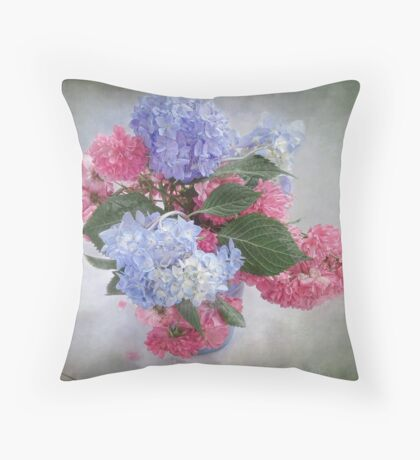 Endless Summer Hydrangeas and Roses Still Life Throw Pillow