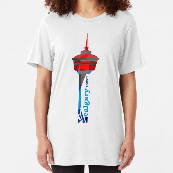 Calgary Tower Geometric Design Slim Fit T-Shirt