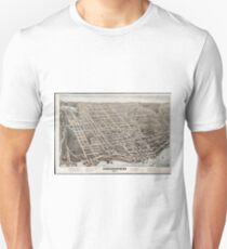 Vintage Pictorial Map of Newburgh New York (1875) T-Shirt