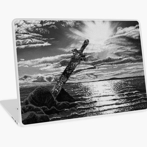 Amazon Sword in the Stone Black and White Sea Sunburst Laptop Skin