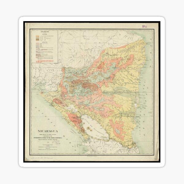 Vintage Map of Nicaragua (1903) Sticker