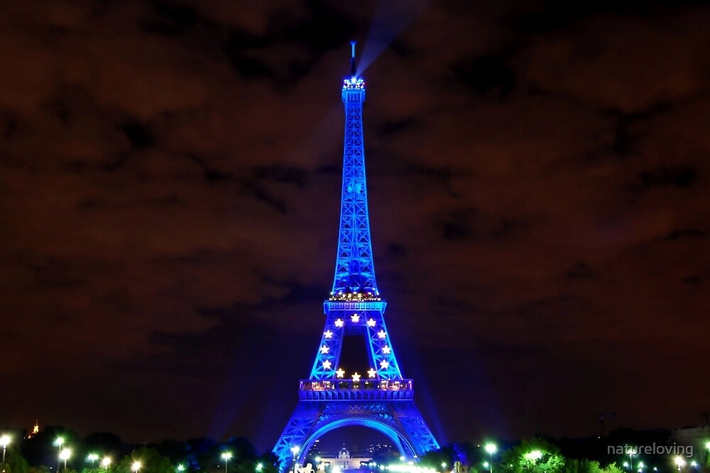 Eiffel Tower in blue by natureloving