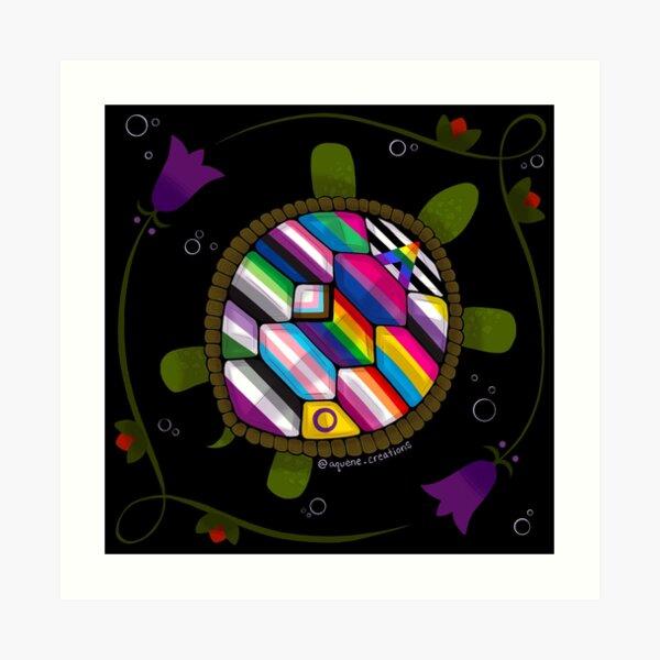 Floral Turtle Island Indigenous Pride Art Print