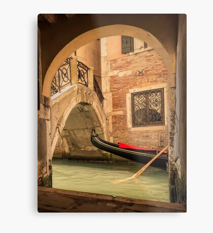 Venice gondola through the arch Metal Print