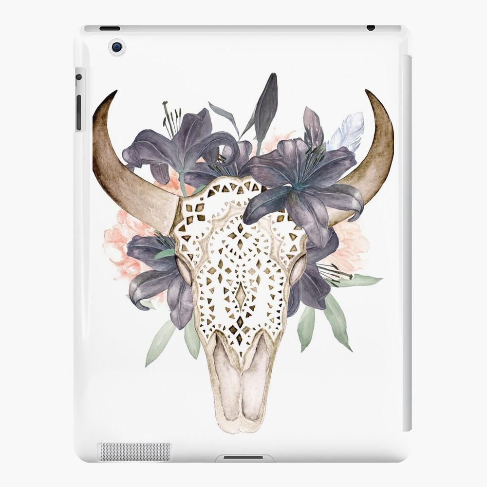 Aquarell Schädel in Blumen iPad-Hüllen & Klebefolien