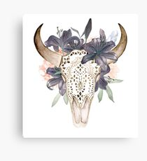Watercolor skull in flowers Canvas Print
