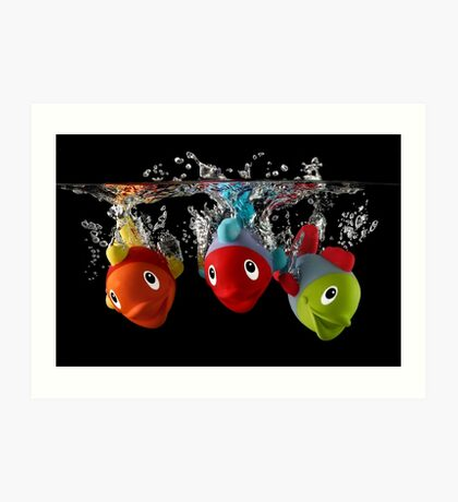 Three Toy Fish With Splash Art Print