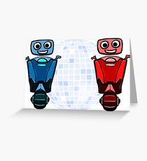 RRDDD Red and Blue Disco Greeting Card