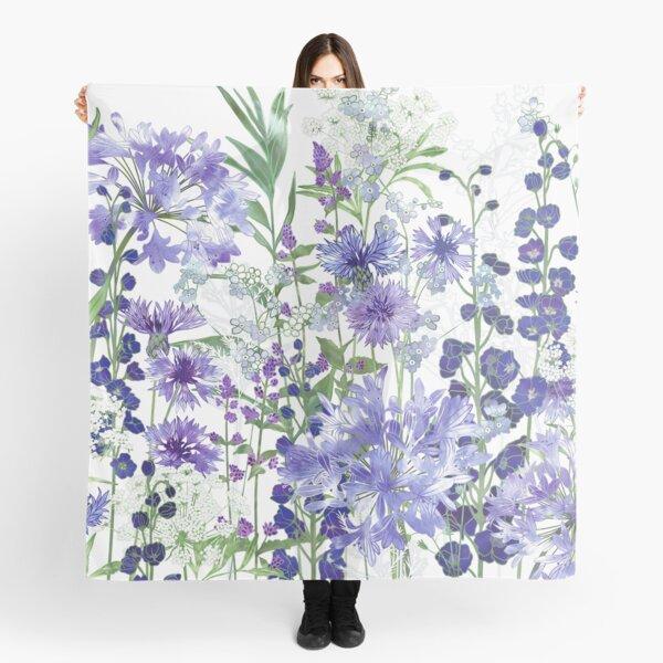 Blue Flower Garden - Agapanthus, Delphiniums, Cornflowers, Catmint, Forget-Me-Nots Scarf