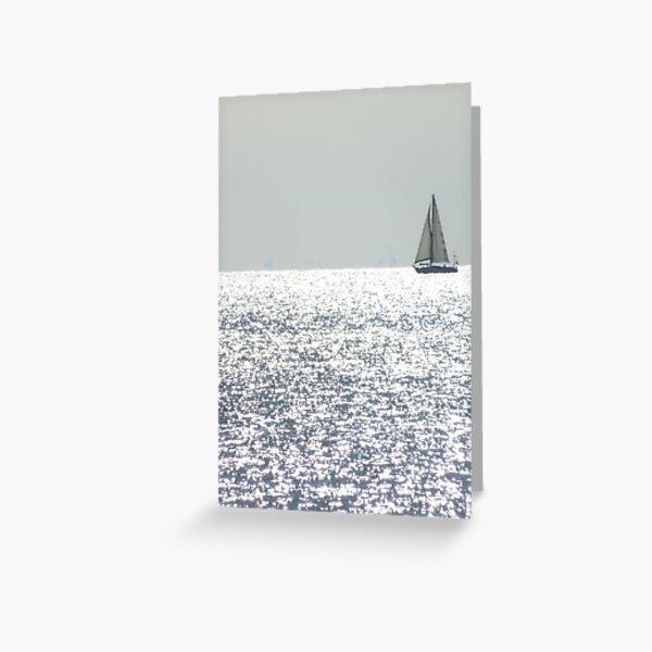 Ship on silver sea Greeting Card