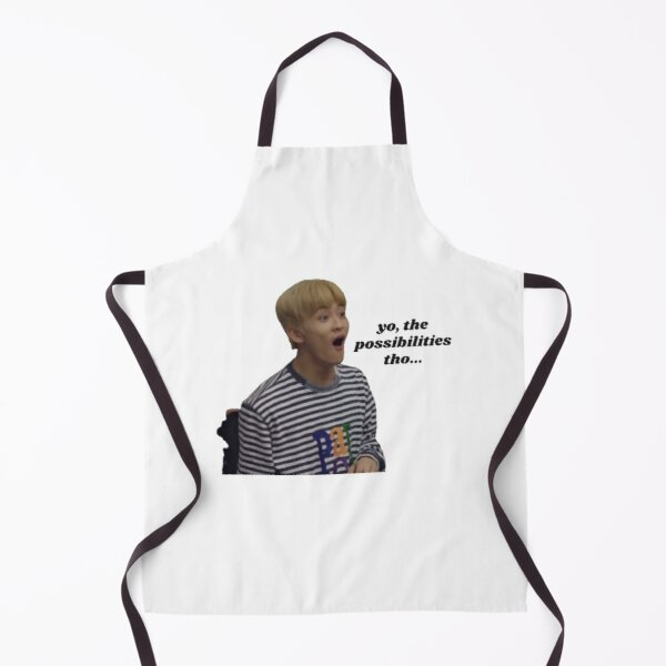 "NCT Mark Lee ""Yo, the possibilities tho..."" Meme Sticker Apron"