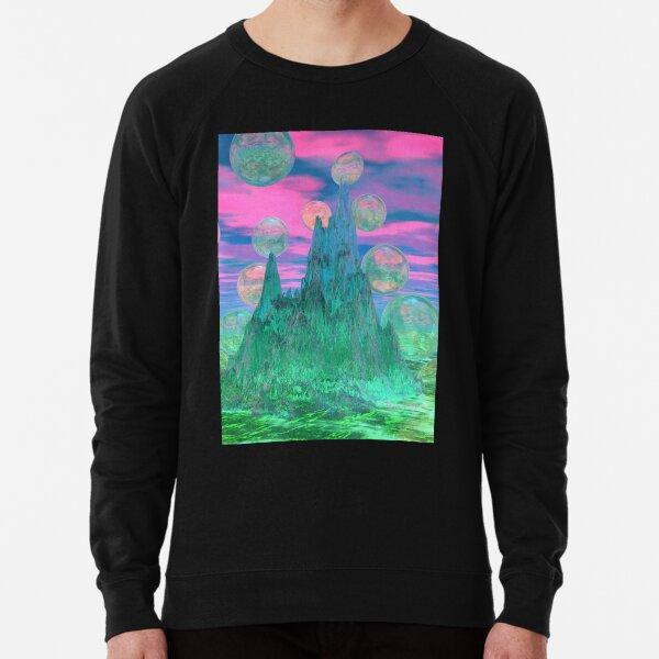 Poetic Mountain at Dawn, Glorious Pink Green Sky Lightweight Sweatshirt