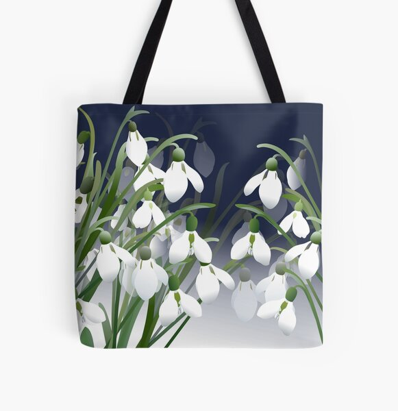 Spring Snowdrops - White Flowers All Over Print Tote Bag
