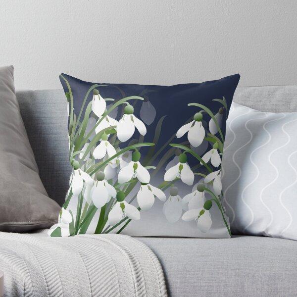 Spring Snowdrops - White Flowers Throw Pillow