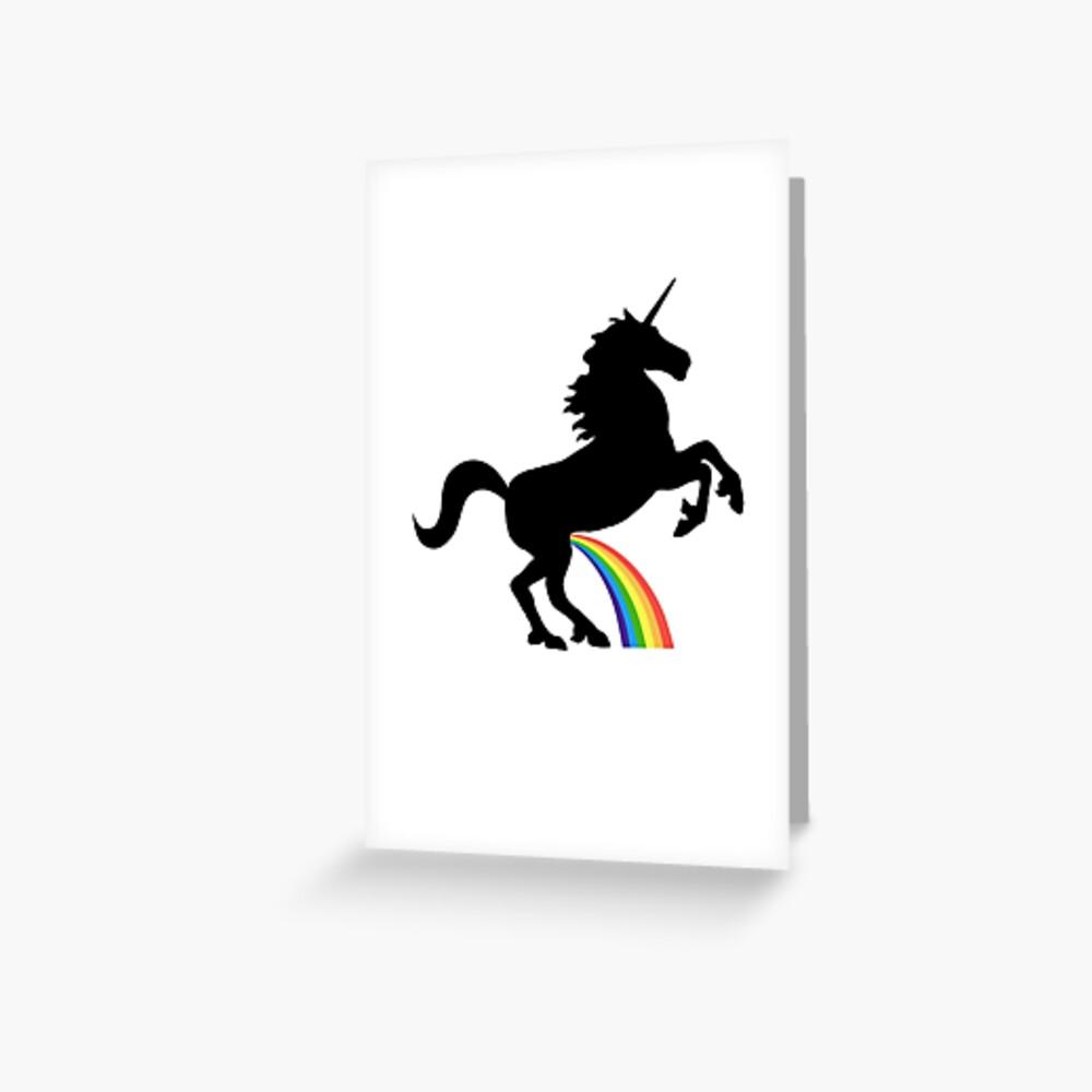 Einhorn Rainbow Pee (schwarzes Design) Grußkarte