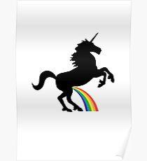 Unicorn Rainbow Pee (black design) Poster
