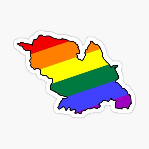 Gay Sheffield rainbow flag map LGBT Yorkshire Sticker