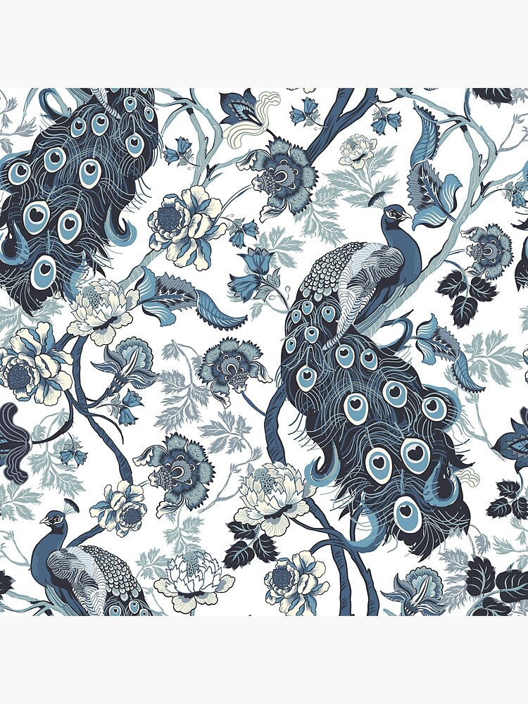 Chinoiserie Blue peacock, chintz, flowers, nature pattern, decorative, blue and white by chrissyink