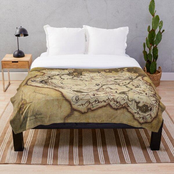 Skyrim Worn Parchment Map Throw Blanket