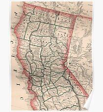 Vintage Karte von Nordkalifornien (1883) Poster