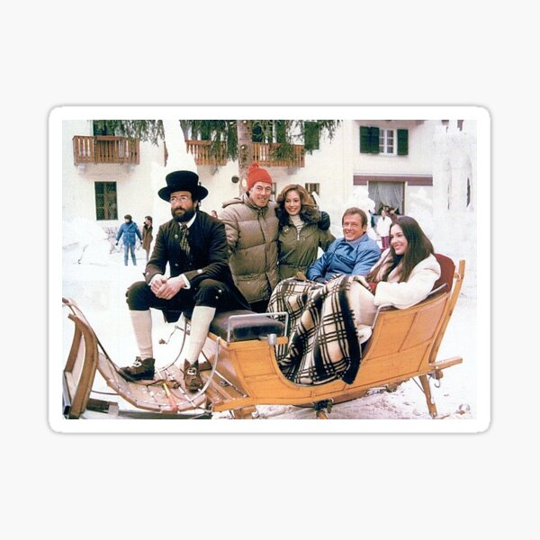 007's 'For Your Eyes Only' Cortina Sleigh Gathering of the Sleigh Driver, John Glen, Robbin Young, Roger Moore, and Carole Bouquet. Sticker