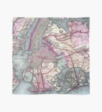 Pañuelo Mapa vintage del área metropolitana de Nueva York (1880)