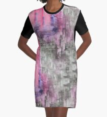 Hot Pink Purple and Black Dripping Abstract Graphic T-Shirt Dress
