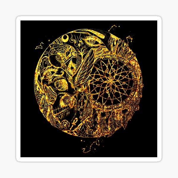 Gold Skull and Dreamcatcher Circle Sticker