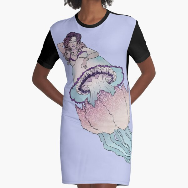 Barrel Jellyfish Mermaid Graphic T-Shirt Dress