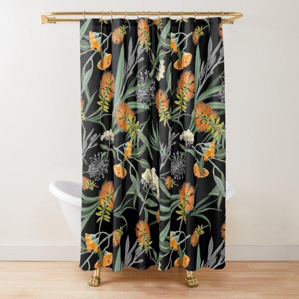 Botanical Australian natives flora, orange, pattern, boho, banksia Shower Curtain