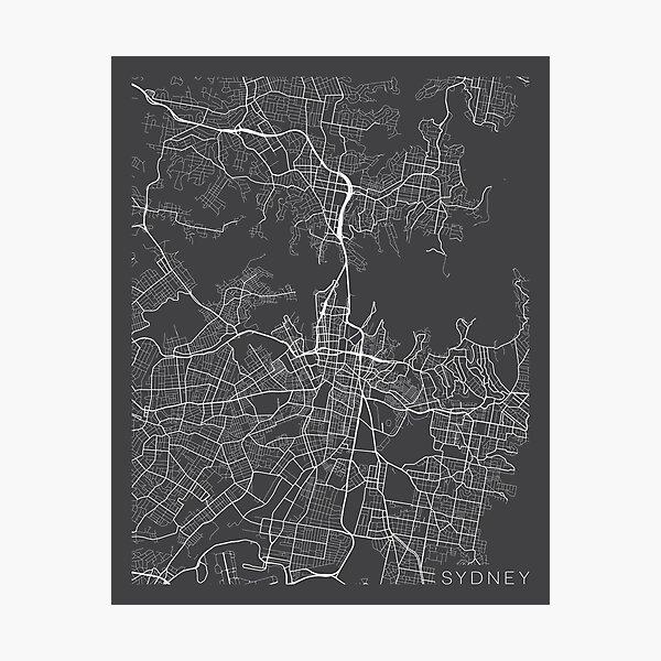 Sydney Map, Australia - Gray Photographic Print