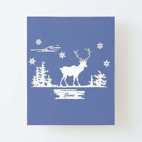 Snowy Deer Canvas Mounted Print