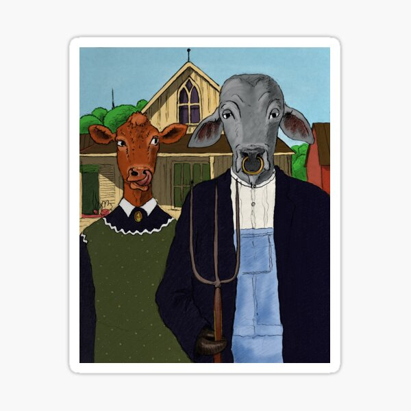 American Gothic with cows Sticker