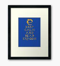 Keep calm and read Eragon (Gold text) Framed Print