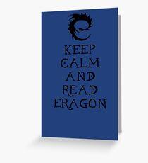Keep calm and read Eragon (Black text) Greeting Card