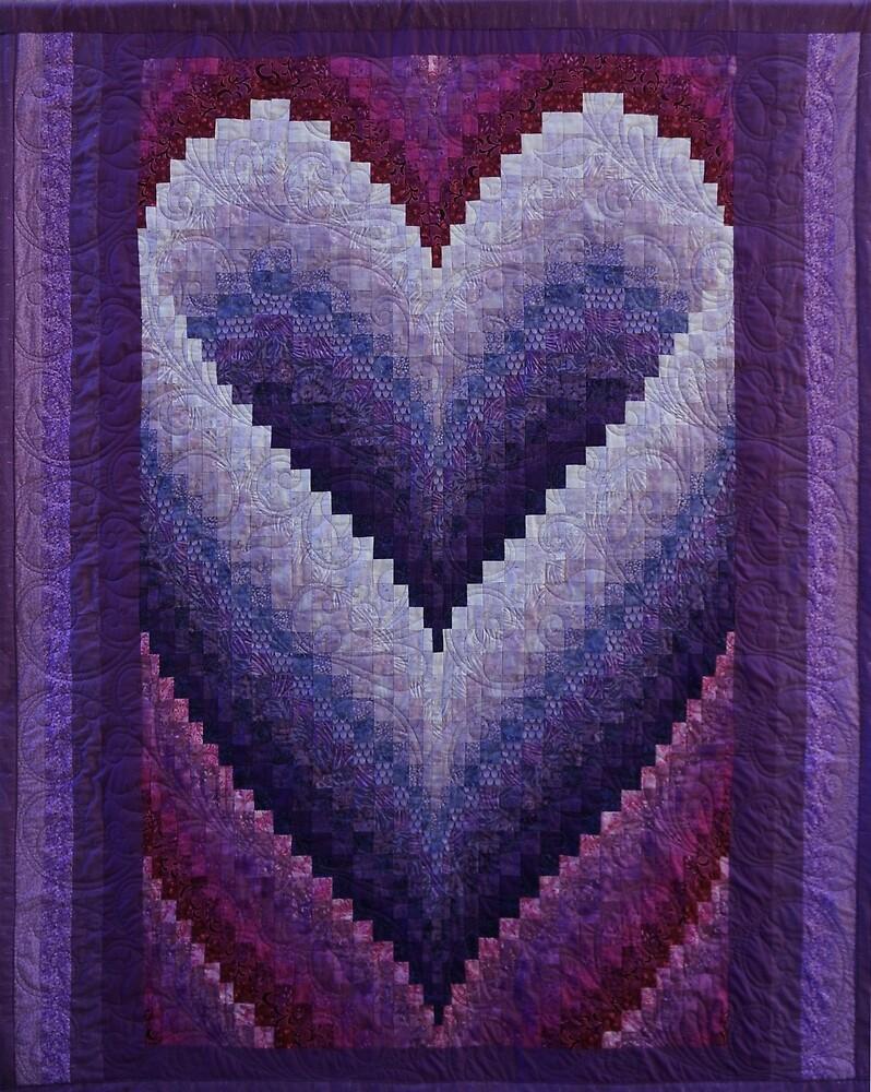 Honeymoon Heart Bargello Quilt by renatagreene