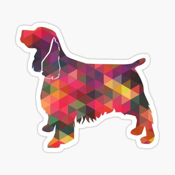 Springer Spaniel Dog Colorful Geometric Pattern Silhouette - Multi Sticker