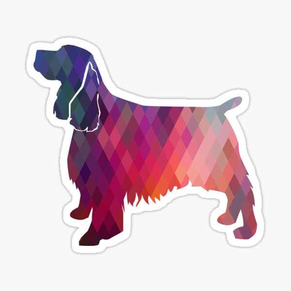 Springer Spaniel Dog Colorful Geometric Pattern Silhouette - Pink Sticker